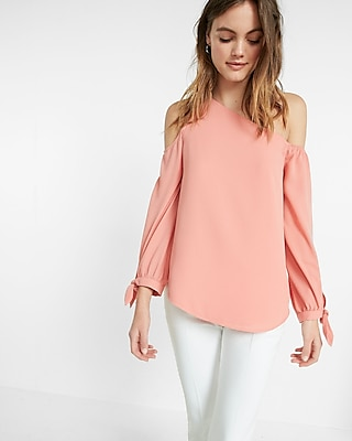 Express Womens Express Womens One Shoulder Cold Shoulder Tie Cuff Blouse Pink Xx Small
