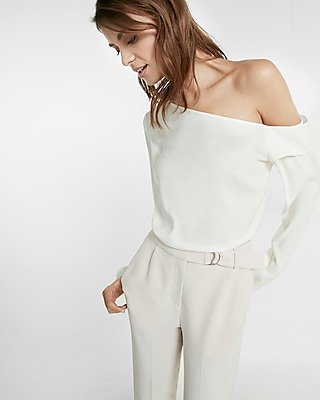 Express Womens Asymmetrical Off The Shoulder Top White X Small