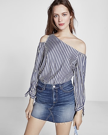metallic stripe tie sleeve one shoulder blouse