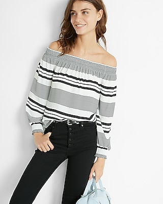 Express Womens Express Womens Striped Smocked Off The Shoulder Long Sleeve Blouse Stripe Xx Small