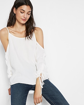 Express Womens Ruched Sleeve Cold Shoulder Blouse