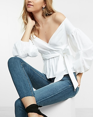 Off The Shoulder Puff Sleeve Surplice Blouse