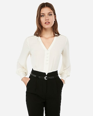 Express Womens Button Front Blouson Sleeve Top