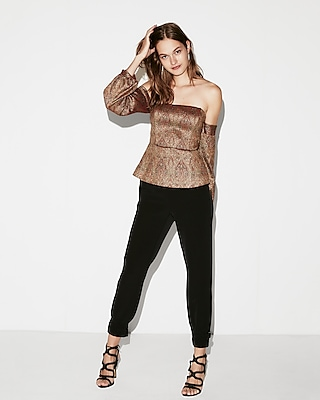 Express Womens Jacquard Off The Shoulder Top