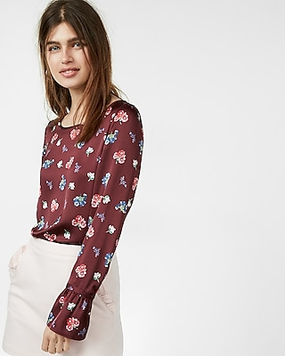 Floral Print Flare Sleeve Blouse