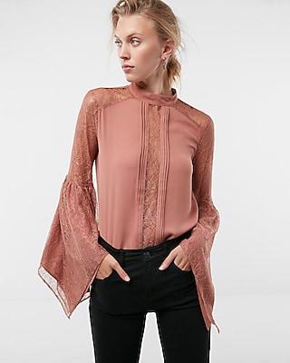 Express Womens Petite Handkerchief Sleeve Lace Blouse