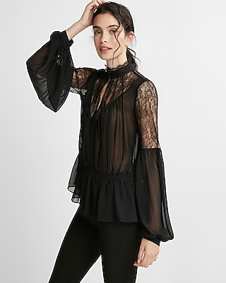 Express Womens High Neck Pieced Lace Chiffon Blouse