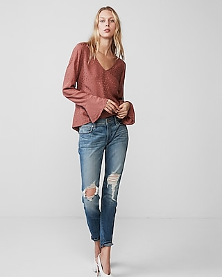 Express Womens Long Flare Sleeve Blouse