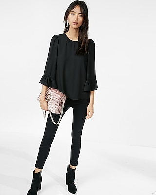 Express Womens Ruffle Flare Sleeve Blouse