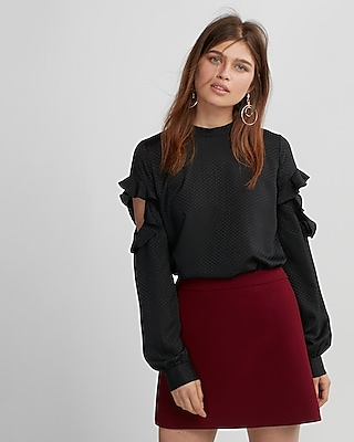 Express Womens Cut-Out Dotted Ruffle Blouse Black XX Small
