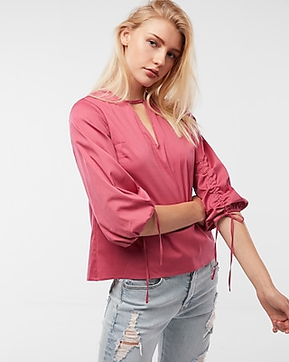 Express Womens Tie-Sleeve Blouse