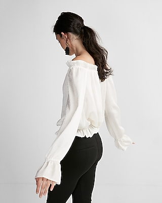 Express Womens Satin Ruffle Off The Shoulder Top