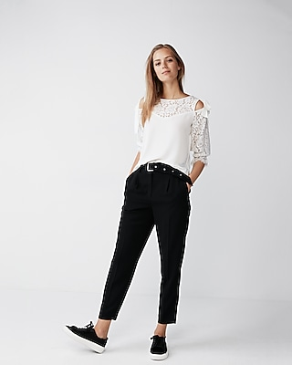 Express Womens Tie Sleeve Lace Blouse