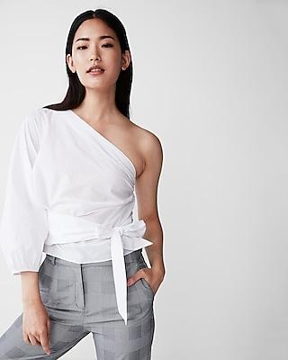 Express Womens Tie Waist One Shoulder Blouse