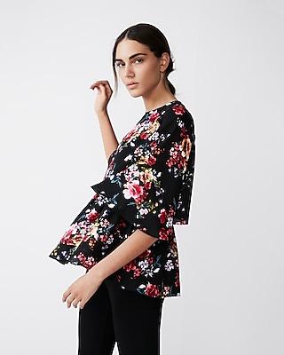 Express Womens Floral Kimono Sleeve Blouse