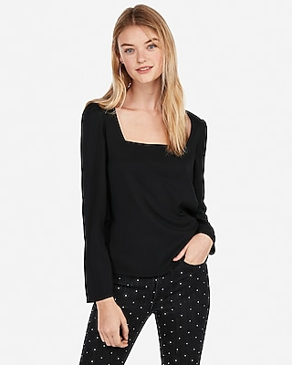 Express Womens Square Neck Puff Shoulder Blouse