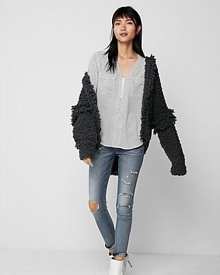 Express Womens Dot Long Sleeve Zip Front Blouse