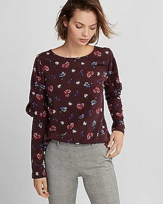 Express Womens Floral Extended Puff Sleeve Blouse