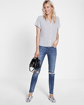 Express Womens Stripe Dolman Shirt