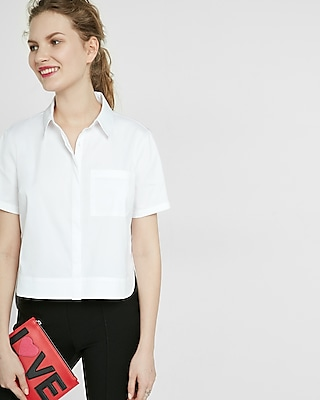 Express Womens Abbreviated One Pocket Essential Shirt