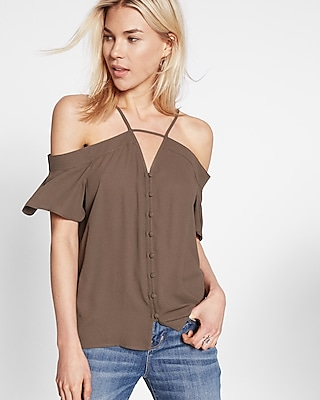 Express Womens Short Sleeve Cold Shoulder Blouse Green X Small