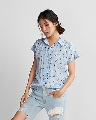 Express Womens Bird Print Easy Drape Short Sleeve Shirt