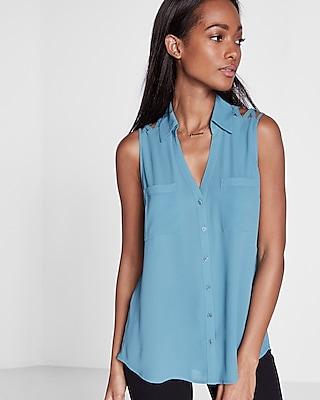 Express Womens Original Fit Lattice Shoulder Sleeveless Portifino Blue Xx Small