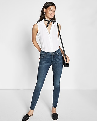 Express Womens Sleeveless Pajama Collar Shirt