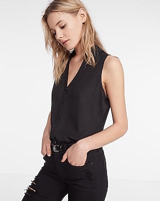 Express Womens Express Womens Slim Fit No Pocket Sleeveless Portofino Shirt Black Xx Small