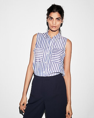 Express Womens Sleeveless Striped City Shirt By Express