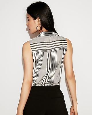 Express Womens Striped Sleeveless City Shirt  Black And White Women's Xs Black And White Xs