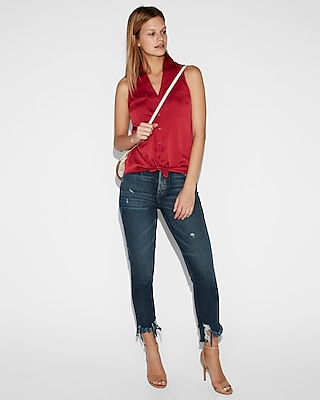 Express Womens Slim Fit Satin Sleeveless Portofino Shirt