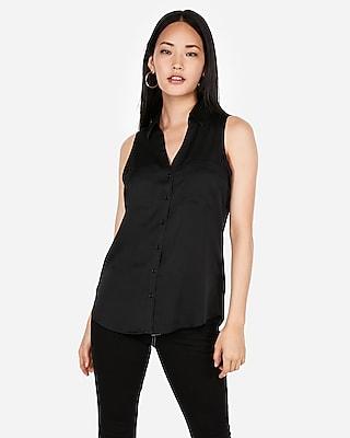 Express Womens Slim Sleeveless Satin Portofino Shirt Black Women's Xxs Black Xxs