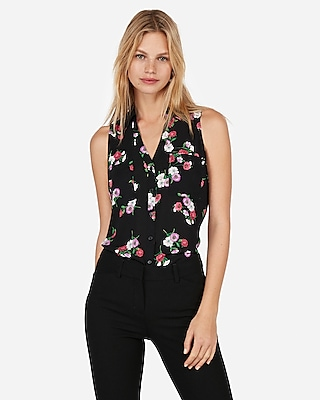 Express Womens Slim Fit Floral Print Sleeveless Portofino Shirt