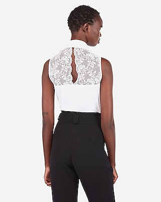 Express Womens Slim Fit Lace Back Sleeveless Portofino Shirt