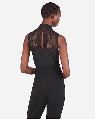 Express Womens Slim Fit Lace Back Sleeveless Portofino Shirt Black Women's Xs Black Xs