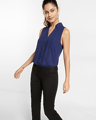 Express Womens Original Fit Sleeveless Portofino Shirt