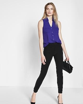 Express Womens Original Fit Sleeveless Portofino Shirt Purple XX Small