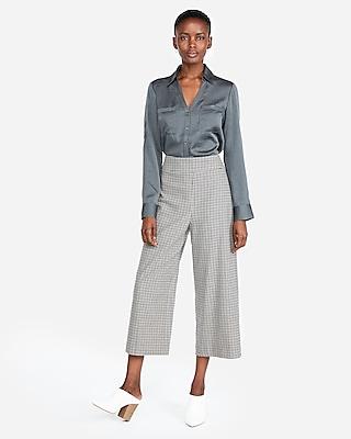 Express Womens Petite Slim Fit Satin Portofino Shirt Gray Women's Xxs Petite Gray Xxs Petite