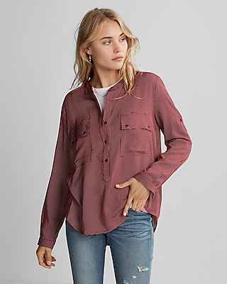 Express Womens Dotted Henley Popover Shirt