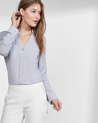 Express Womens Express Womens Petite Slim Fit Convertible Sleeve Portofino Shirt Gray S Petite