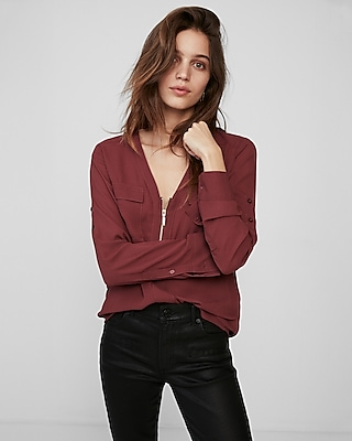 Express Womens Long Sleeve Zip Front Blouse