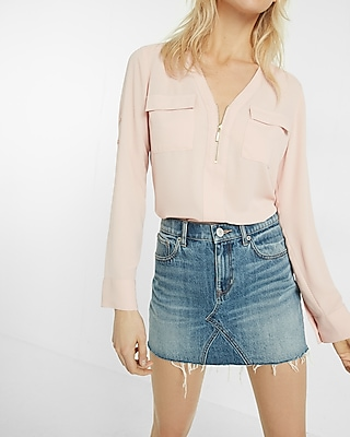 Express Womens Long Sleeve Zip Front Blouse Pink XX Small