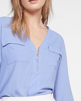 Express Womens Long Sleeve Zip Front Blouse Blue X Small