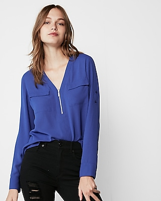Express Womens Long Sleeve Zip Front Blouse Blue XX Small