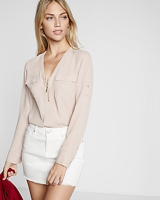 Express Womens Long Sleeve Zip Front Blouse Pink Small