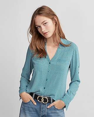 Express Womens Slim Fit Dot Print Portofino Shirt