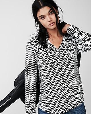 Express Womens Slim Heart Halves Print Portofino Shirt