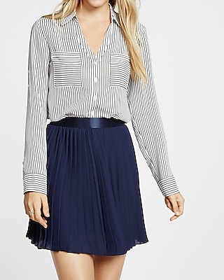 Express Womens Express Womens Petite Slim Fit Black And White Striped Portofino Shirt