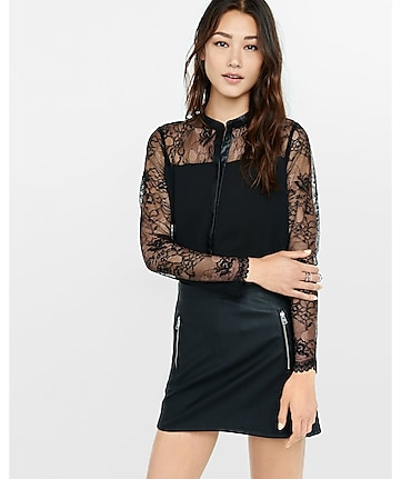 lace yoke faux (minus the) leather trim shirt